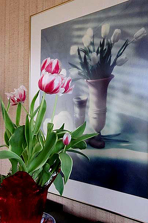 Although not a work of art, a framed poster of white tulips complemented by fresh pink & white ones, echoes Art in Bloom. (Photo © Hilda M. Morrill)